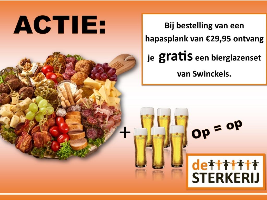 Vergroot de foto van de ACTIE HAPASPLANK + SWINCKELS BIERGLAZENSET