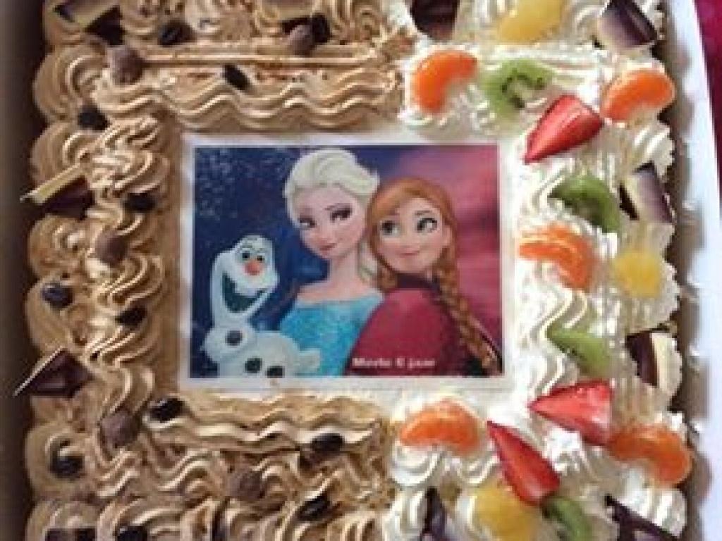 Vergroot de foto van de Mokka taart 24 persoons (fototaart)